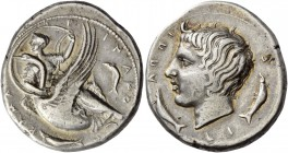 Camarina. Didrachm circa 405, AR 8.67 g. KAMA – P – INAIO – N The nymph Camarina, with head l., dressed in low-necked chiton leaving the breast partly...