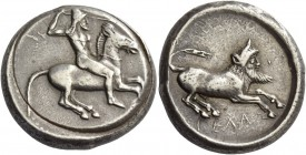 Gela. Tetradrachm circa 475-465, AR 17.36 g. Naked, bearded rider wearing conical helmet, on horse prancing r., spear in r. hand, l. holding reins. Re...