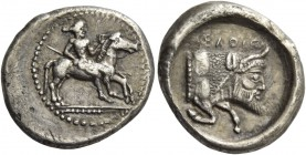 Gela. Drachm circa 475-465, AR 4.07 g. Naked rider about to jump from horse prancing r.; his l. hand holding reins and resting against horse's mane, k...