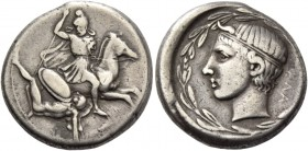 Gela. Didrachm circa 425-420, AR 8.70 g. Bearded and helmeted rider, in military attire, spearing down hoplite fallen on his back, his large round shi...
