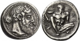 Naxos. Tetradrachm, circa 460, AR 17.14 g. Bearded head of Dionysus r., wearing ivy-wreath, hair tied up high in a knot at the nape of his neck. Rev. ...