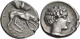 Segesta. Didrachm circa 412-400 or later, AR 8.33 g. Hound r., following scent; behind, three ears of barley with stalks and leaves; Σ - ΕΓΕΣΤΑZΙΒ bet...