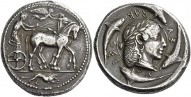 Syracuse. Tetradrachm of the Demareteion series circa 465, AR 17.38 g. Slow quadriga driven r. by charioteer, wearing chiton, holding reins in both ha...