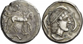 Syracuse. Tetradrachm circa 460-450, AR 17.07 g. Charioteer, holding kentron in r. hand and reins in both, driving slow quadriga r.; above, Nike flyin...