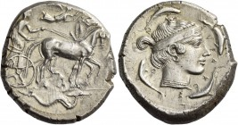 Syracuse. Tetradrachm circa 450–440, AR 17.23 g. Slow quadriga driven r. by charioteer; above, Nike flying r. to crown the horses. In exergue, sea-mon...