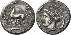 Syracuse. Tetradrachm, in the style of Eukleidas, circa 405, AR 17.51 g. Fast quadriga driven l. by charioteer, holding kentron in r. hand and reins i...