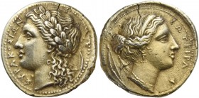 Syracuse. 100 litrae circa 317-310, EL 6.69 g. ΣΥΡΑΚΟΣΙΩΝ Laureate head of Apollo l.; behind, bow. Rev. ΣΩΤΕΙΡΑ Head of Artemis r., hair bound with br...
