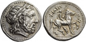 Kings of Macedonia, Philip II 359 – 336 and posthumous issues. Tetradrachm, Amphipolis circa 323-315 BC, AR 14.33 g. Laureate head of Zeus r. Rev. ΦIΛ...