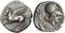 Epirus, Ambracia. Stater circa 404-360, AR 8.46 g. Pegasus flying l. Rev. Head of Athena r., wearing Corinthian helmet; on bowl, A and behind, nude ma...