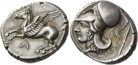 Epirus, Ambracia. Stater circa 360-338, AR 8.55 g. Pegasus flying l.; below, A. Rev. Head of Athena l., wearing crested Corinthian helmet; behind, spe...
