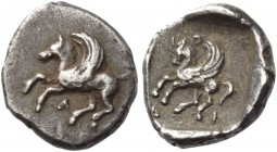 Acarnania, Leucas. Diobol circa 440-400, AR 0.91 g. Pegasus flying l.; below, Λ. Rev. Pegasus prancing l.; above, O and below, Δ - Ι; all within parti...