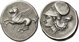 Thyrreium. Stater circa 350-300, AR 8.53 g. Pegasus flying l.; below, P. Rev. Head of Athena r., wearing Corinthian helmet; below chin, Θ, beneath nec...