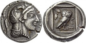 Attica, Athens. Didrachm circa 460, AR 8.48 g. Head of Athena r., wearing Attic helmet decorated with palmettes. Rev. ΑΘΕ Owl standing r. with closed ...