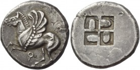Corinthia, Corinth. Stater 550-500, AR 8.37 g. Pegasus flying l.; below, ?. Rev. Quadripartite incuse square with projections in each quarter. Calciat...