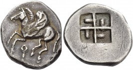 Corinthia, Corinth. Drachm 550-500, AR 2.83 g. Pegasus flying l.; below, ?. Rev. Quadripartite incuse square with projections in each quarter. BMC 29....