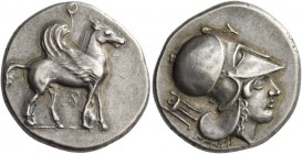 Corinthia, Corinth. Stater circa 380-360, AR 8.46 g. Pegasus advancing r.; above and between its legs, ?. Rev. Head of Athena r., wearing Corinthian h...