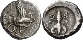 Olympia, Elis. Stater circa 450-440 BC, AR 12.27 g. Eagle flying r., grasping snake with its talons and its beak. Rev. F – A Thunderbolt with volutes ...
