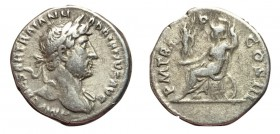 Hadrian, 117 - 138 AD, Silver Denarius, Roma Seated on Weapons
