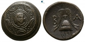"Kings of Macedon. Uncertain mint in Western Asia Minor. Alexander III ""the Great"" 336-323 BC. Struck circa 323-310 BC. Half Unit Æ"