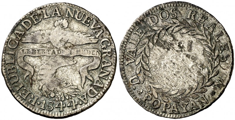 1844. Colombia. Popayán. 2 reales. (Kr. 97.2). 5 g. AG. MBC-.