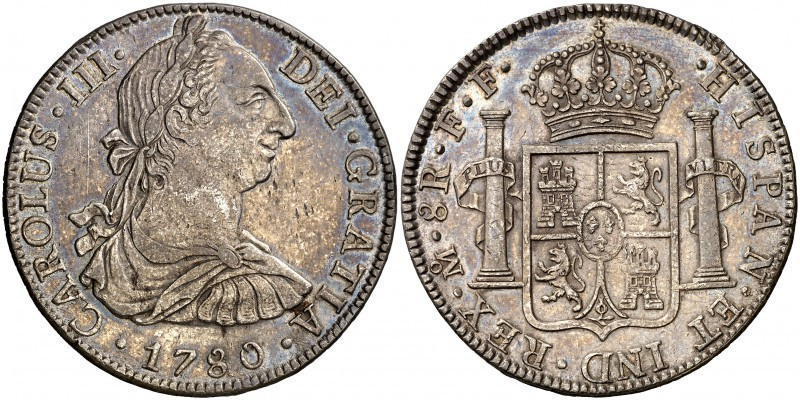 1780. Carlos III. México. FF. 8 reales. (Cal. 930). 26,95 g. Leves marquitas. Be...