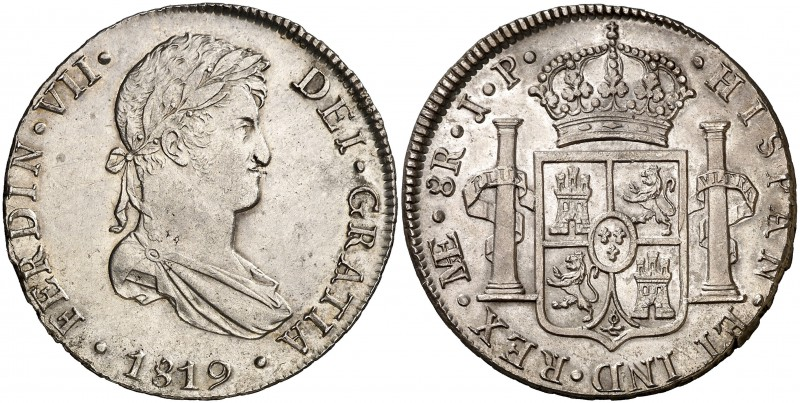 1819. Fernando VII. Lima. JP. 8 reales. (Cal. 487). 26,94 g. Leves marquitas. Pa...