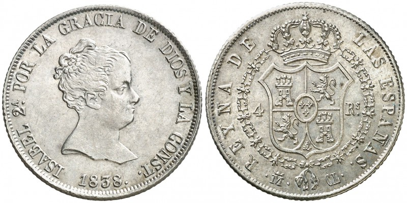 1838. Isabel II. Madrid. CL. 4 reales. (Cal. 288). 5,96 g. Atractiva. Ex Colecci...