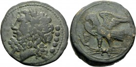 APULIA. Venusia . Circa 210-200 BC. Quincunx (Bronze, 28 mm, 17.14 g, 1 h). Laureate head of Zeus to left; to right, •••••. Rev. VE Eagle, with spread...