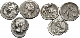 LUCANIA. Herakleia . Circa 432-420 BC. (Silver, 3.04 g). Lot of three Diobols with Athena and Herakles wrestling with the Nemean lion. ( 1 ). 13 mm, 0...