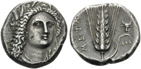 LUCANIA. Metapontion . Circa 330-290 BC. Nomos or Didrachm (Silver, 19 mm, 7.70 g, 3 h), Atha... Head of Demeter facing, turned slightly to the right,...