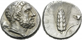 LUCANIA. Metapontion . Circa 290-280 BC. Didrachm or nomos (Silver, 18 mm, 7.73 g, 2 h). Diademed head of bearded Herakles to right, club behind his n...