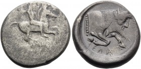 SICILY. Gela . Circa 490/85-480/75 BC. Didrachm (Silver, 21 mm, 8.36 g, 4 h). Bearded horseman, nude, riding right, brandishing spear in his upraised ...