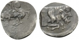 SICILY. Gela . 430-425 BC. Litra (Silver, 11 mm, 0.51 g, 3 h). Horseman galloping left, holding spear and shield. Rev. [ΓΕΛΑΣ] Forepart of Acheloos as...