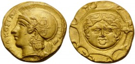 SICILY. Syracuse . Second Democracy, 466-405 BC. Dilitron (Gold, 11 mm, 1.77 g, 5 h), signed by the engraver Mi..., struck circa 406. ΣΥΡΑΚΟΣΙΩΝ Head ...