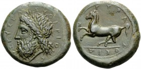SICILY. Syracuse . Timoleon and the Third Democracy, 344-317 BC. Dilitron (Bronze, 28 mm, 18.05 g, 9 h), c. 339/8-334. ΖΕΥΣ ΕΛΕΥΘΕΡΙΟΣ Laureate head o...