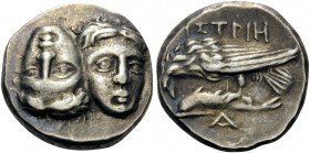 MOESIA. Istros . Circa 280-256/5 BC. Drachm (Silver, 17 mm, 5.55 g, 12 h). Two facing male heads side by side, one upright and the other inverted - a ...
