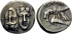 MOESIA. Istros . Circa 280-256/5 BC. Drachm (Silver, 18 mm, 5.63 g, 12 h). Two facing male heads side by side, one upright and the other inverted – a ...