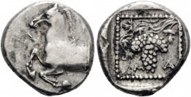 THRACE. Maroneia . Circa 398/7-348/7 BC. Triobol (Silver, 14 mm, 2.60 g, 12 h). A-H Forepart of horse to left. Rev. M A Grape bunch on vine, within do...