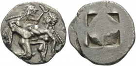 ISLANDS OFF THRACE, Thasos. Circa 500-463 BC. Stater (Silver, 22 mm, 9.35 g), c. 500-480 BC. Ithyphallic satyr advancing to right, carrying protesting...