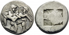 ISLANDS OFF THRACE, Thasos. Circa 500-463 BC. Stater (Silver, 21 mm, 9.12 g), c. 500-480. Ithyphallic satyr advancing right, carrying off protesting n...