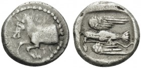 KINGS OF THRACE. Sparadokos, circa 464-444 BC. Diobol (Silver, 10 mm, 1.34 g, 2 h). Forepart of horse to left. Rev. Eagle flying left, holding serpent...