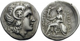 KINGS OF THRACE. Lysimachos, 305-281 BC. Drachm (Silver, 19 mm, 4.09 g, 11 h), Ephesus, ca. 294-287 BC. Head of the deified Alexander the Great to rig...