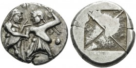 THRACO-MACEDONIAN REGION. Siris, or Berge (?) . Circa 525-480 BC. Stater (Silver, 20 mm, 8.87 g). Ithyphallic satyr standing right, right hand graspin...