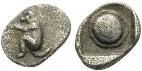 THRACO-MACEDONIAN REGION. Uncertain . 480-450 BC. Tetartemorion (Silver, 7 mm, 0.23 g). Monkey squatting to left. Rev. Round shield within incuse squa...