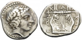 MACEDON, Chalkidian League. Circa 432-348 BC. Tetrobol (Silver, 15.5 mm, 2.30 g, 10 h), Olynthos, 400-348. Laureate head of Apollo to right. Rev. Χ-Α-...