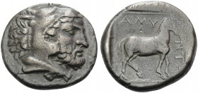 KINGS OF MACEDON. Amyntas III, 393-370/69 BC. Stater (Silver, 21 mm, 8.96 g, 1 h), Aigai. Head of bearded Herakles right, wearing lion's skin headdres...