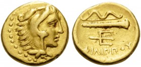 KINGS OF MACEDON. Philip II, 359-336 BC. Quarter Stater (Gold, 11 mm, 2.14 g, 2 h), Pella, 340/36-328 BC. Head of Herakles right, wearing lion's skin ...