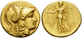 KINGS OF MACEDON. Philip III Arrhidaios, 323-317 BC. Stater (Gold, 18 mm, 8.58 g, 6 h), Lampsakos. Head of Athena to right, wearing pendant earring, n...