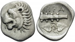 THESSALY. Herakleia Trachineia . Circa 370-344 BC. Obol (Silver, 12.5 mm, 0.86 g, 5 h). Head of lion to left, with open mouth and protruding tongue; b...