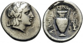 THESSALY. Lamia . Circa 400-344 BC. Hemidrachm (Silver, 16 mm, 2.67 g, 2 h), circa 390s. Head of Dionysos to right, wearing ivy wreath. Rev. ΛΑΜΙΕΩΝ A...